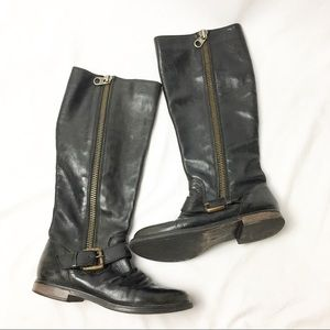 STEVE MADDEN Black Leather Tall Moto Riding Boots